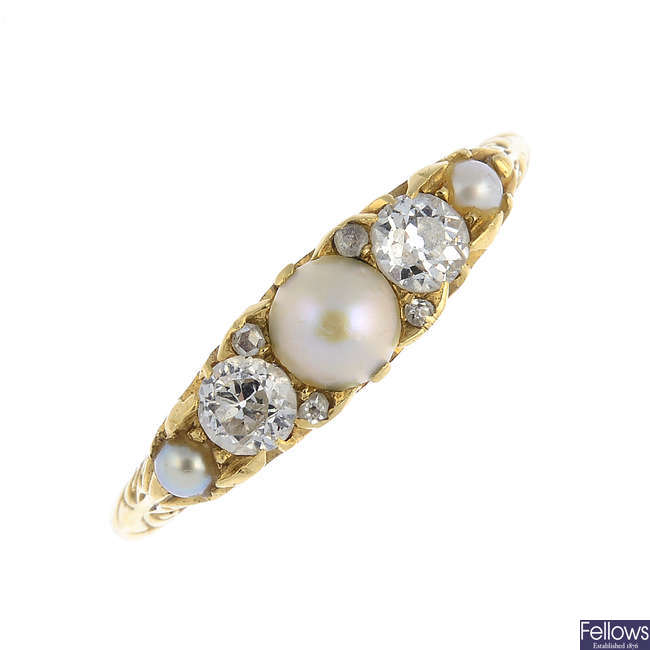 An early 20th century split pearl and diamond ring.