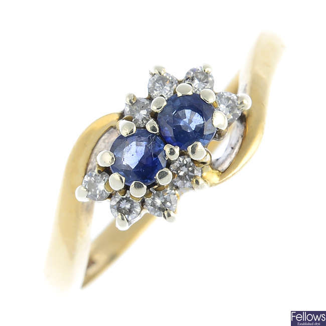 A 9ct gold sapphire and diamond crossover ring.