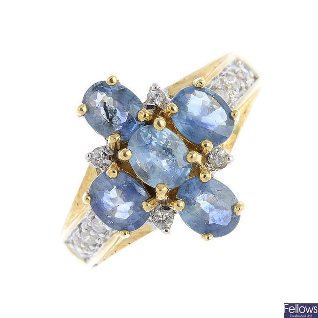 A 9ct gold sapphire and diamond dress ring.