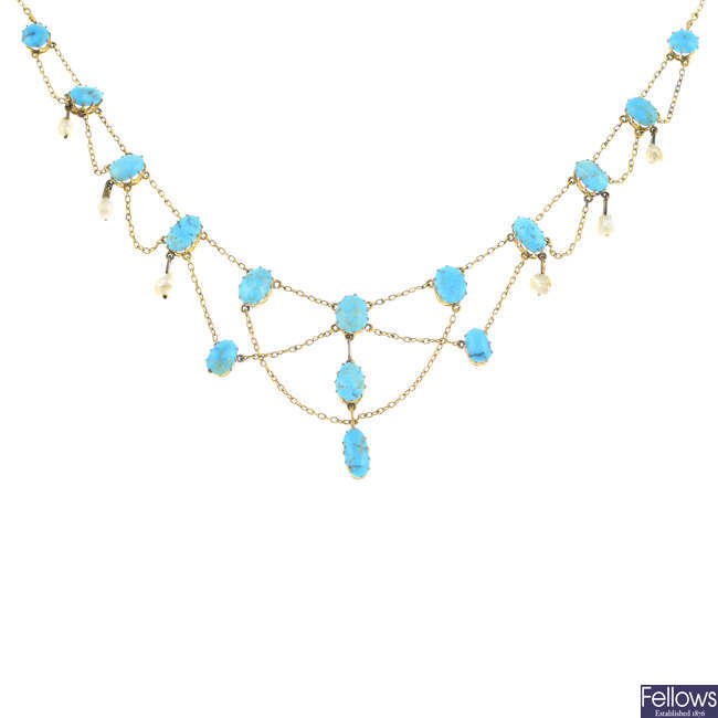 LIBERTY & CO. - an Edwardian gold turquoise and pearl necklace.