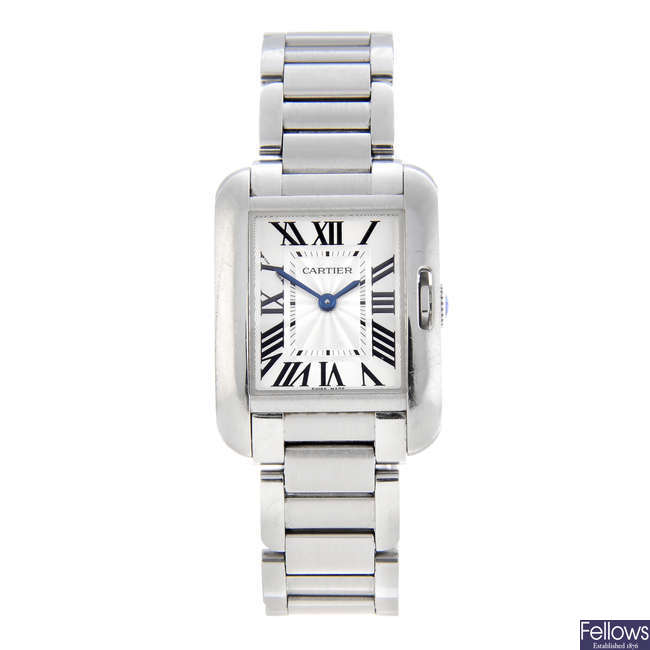 CURRENT MODEL: CARTIER - a stainless steel Tank Anglaise bracelet watch.