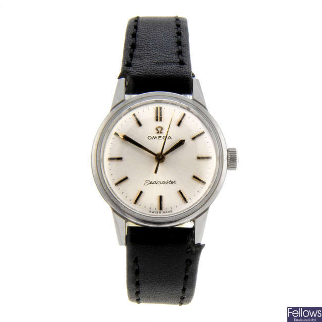 OMEGA - a lady's stainless steel Seamaster wrist watch.