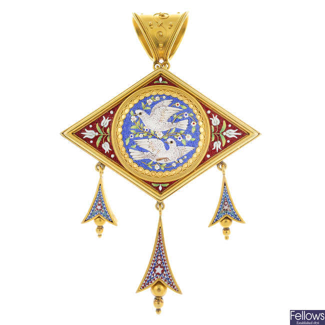 A late 19th century gold micro mosaic pendant.