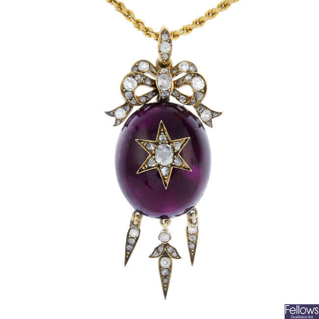 A 19th century gold amethyst and diamond pendant, with chain.