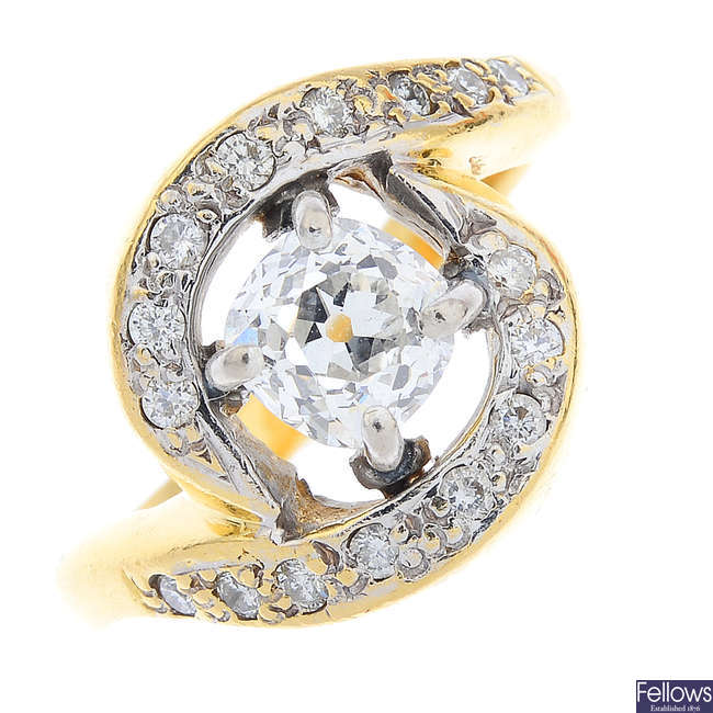 A 22ct gold diamond single-stone ring.