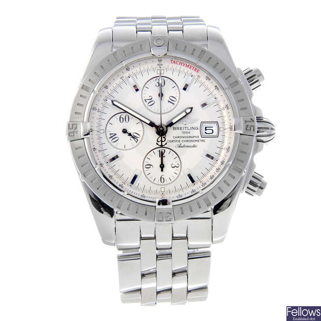 BREITLING - a gentleman's stainless steel Chronomat Evolution chronograph bracelet watch.