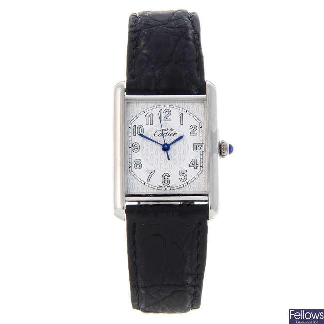 CARTIER - a silver Must de Cartier wrist watch.