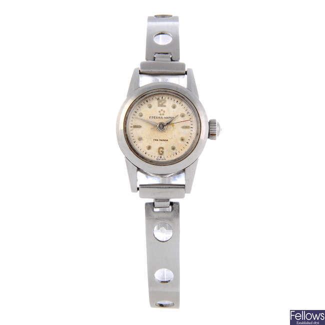 ETERNA - a lady's stainless steel bracelet watch.