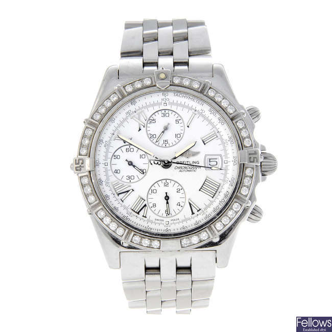 BREITLING - a gentleman's stainless steel Crosswind chronograph bracelet watch.
