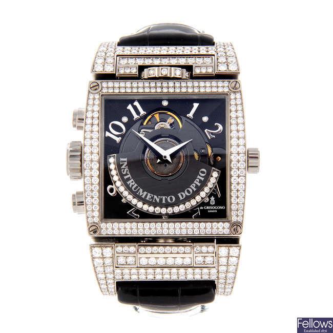 DE GRISOGONO - a limited edition gentleman's 18ct white gold Instrumento Doppio chronograph wrist watch.