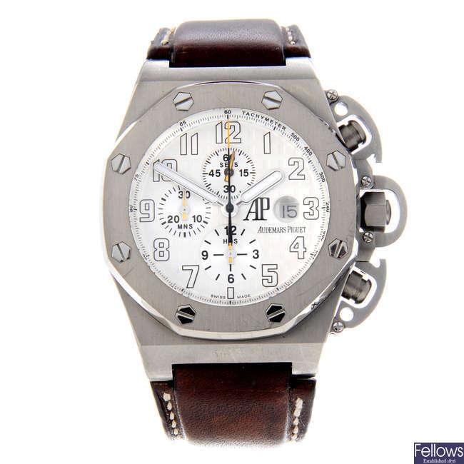 AUDEMARS PIGUET - a limited edition gentleman's titanium Royal Oak Offshore T3 chronograph wrist watch.