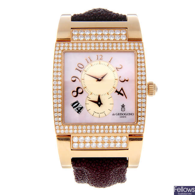 CURRENT MODEL: DE GRISOGONO - a lady's 18ct rose gold Instrumento No. Uno wrist watch.