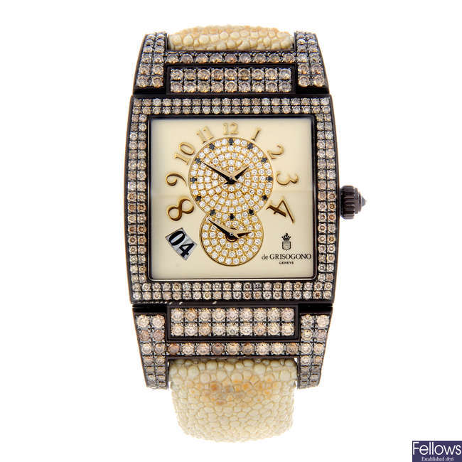 DE GRISOGONO - a lady's PVD-treated 18ct gold Instrumento No. Uno wrist watch.