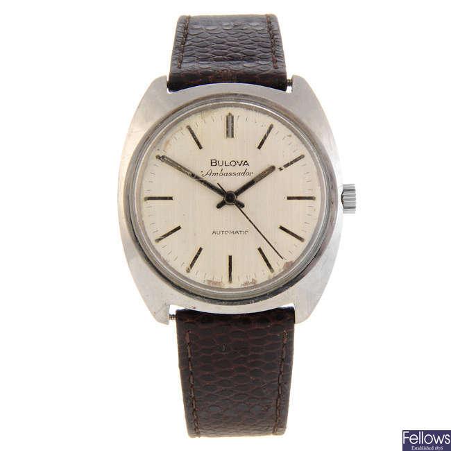 BULOVA - a gentleman's stainless steel Ambassador wrist watch.