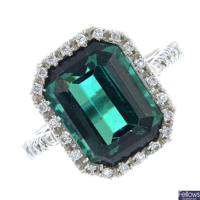 FAVERO - an 18ct gold tourmaline and diamond ring.