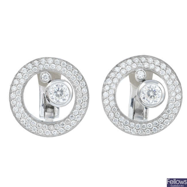 ROBERTO COIN - a pair of 18ct gold 'Centro' diamond earrings.