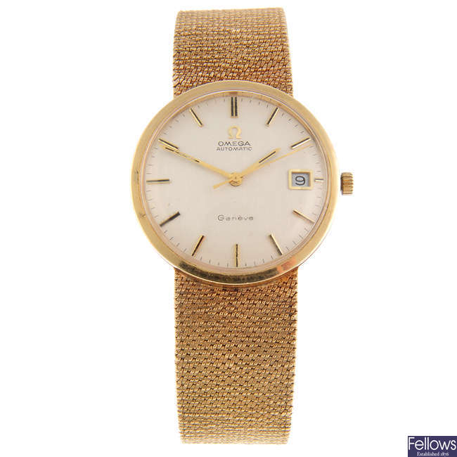 OMEGA - a gentleman's 9ct yellow gold Genève bracelet watch.