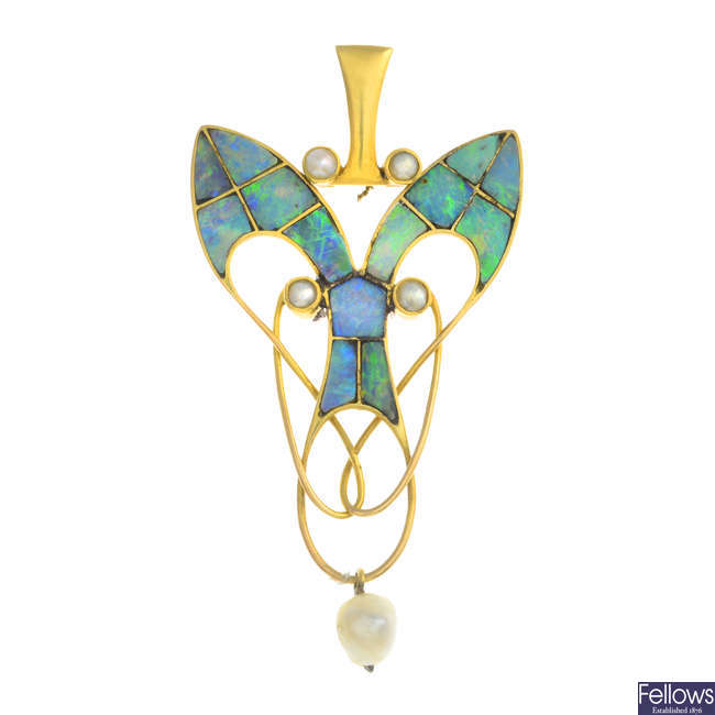 LIBERTY & CO. - an early 20th century gold, opal mosaic, pearl and split pearl pendant, with fitted case.