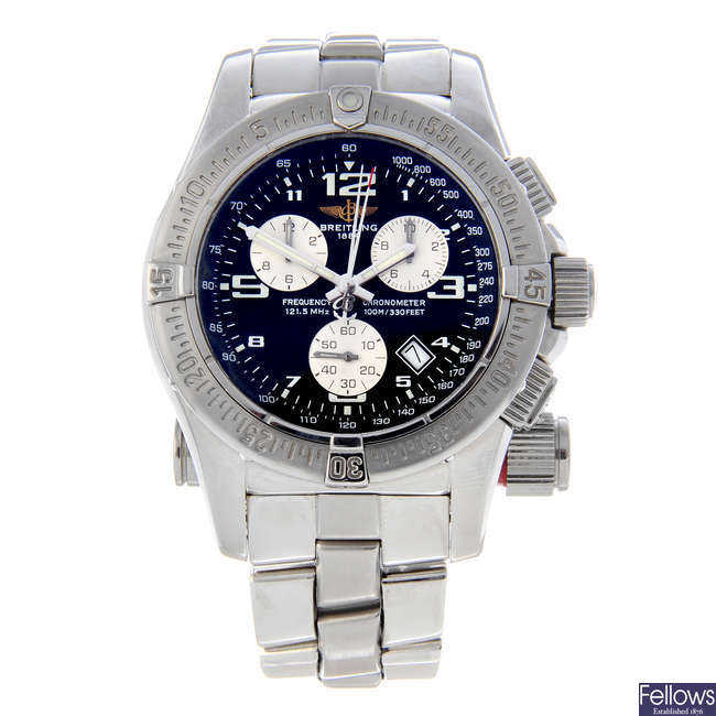 BREITLING - a gentleman's stainless steel Emergency Mission chronograph bracelet watch.