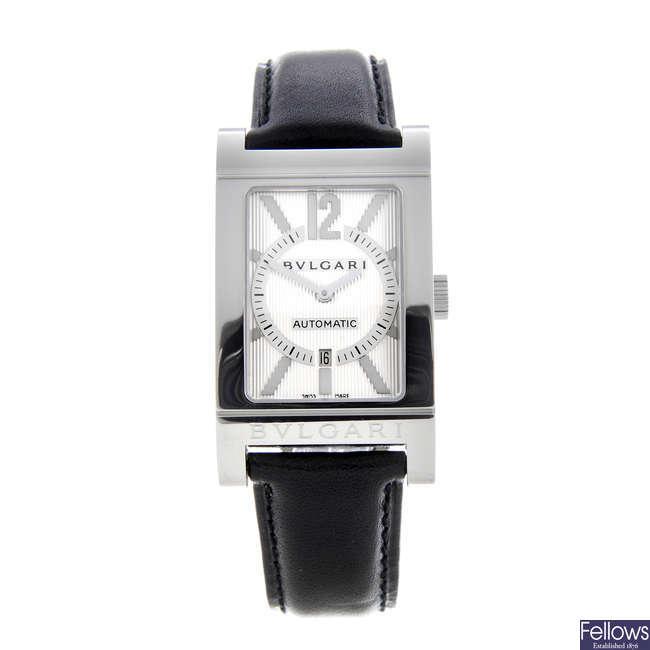 BULGARI - a gentleman's stainless steel Rettangolo wrist watch.