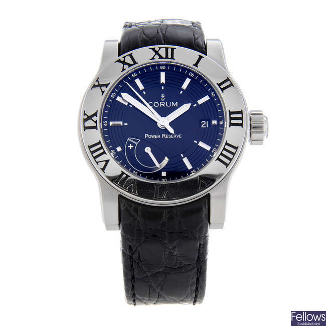 CORUM - a gentleman's stainless steel Romulus wrist watch.