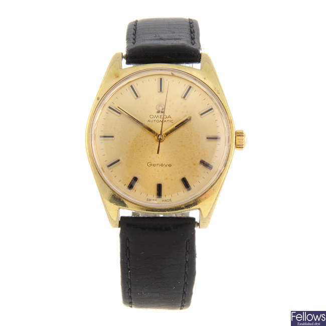 OMEGA - a gentleman's gold plated Genève wrist watch.