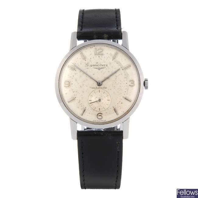 LONGINES - a gentleman's stainless steel wrist watch.