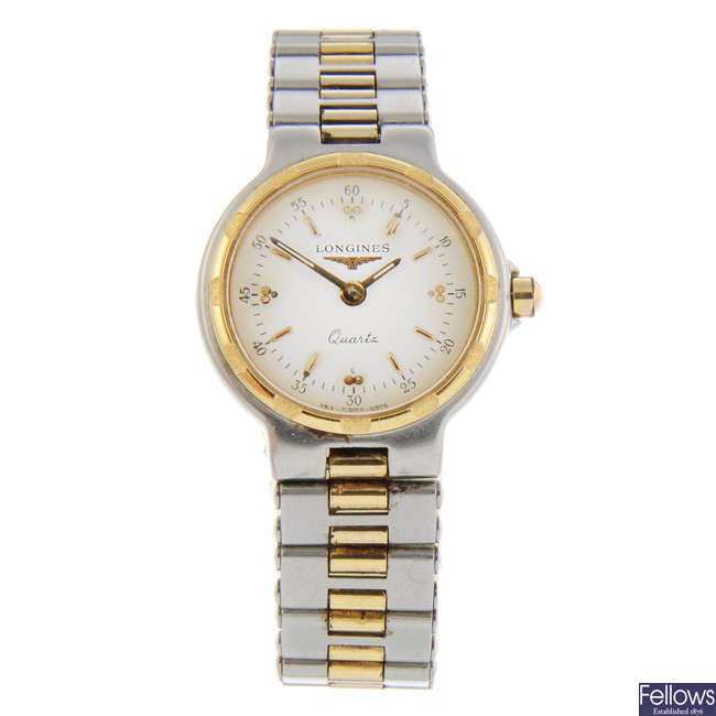 LONGINES - a lady's bi-colour Conquest bracelet watch with a Mappin & Webb bracelet watch.