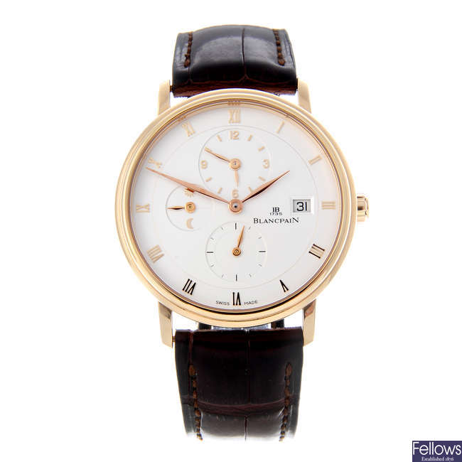 BLANCPAIN - a gentleman's 18ct rose gold Villeret wrist watch.