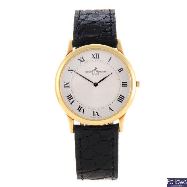 BAUME & MERCIER - a gentleman's 18ct yellow gold wrist watch.