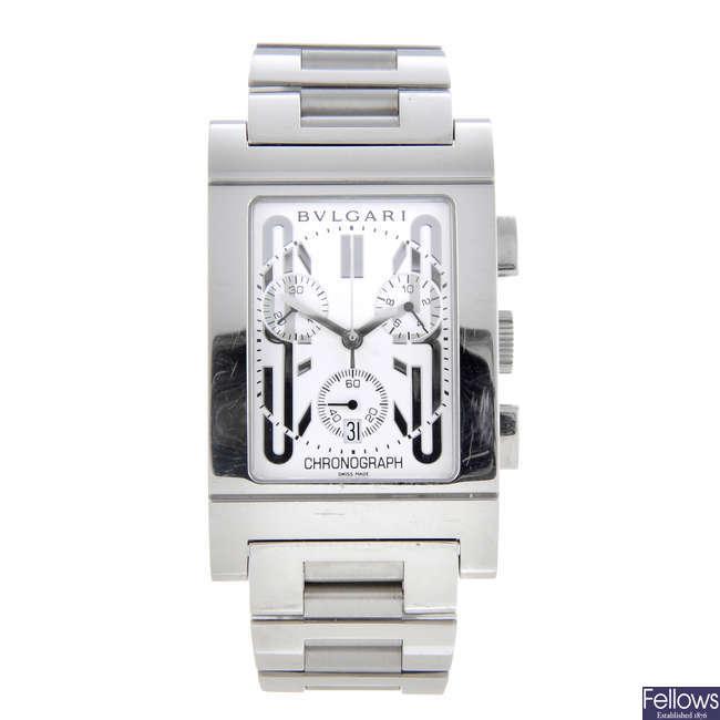BULGARI - a gentleman's stainless steel Rettangolo chronograph bracelet watch.