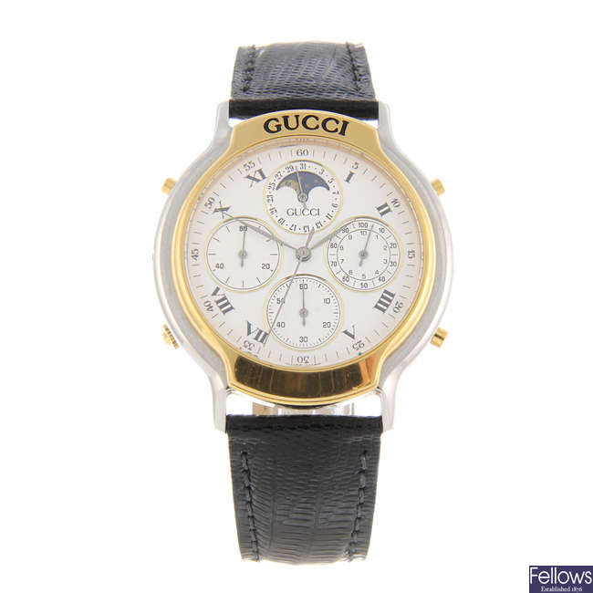 GUCCI - a gentleman's bi-colour 8300 chronograph wrist watch.