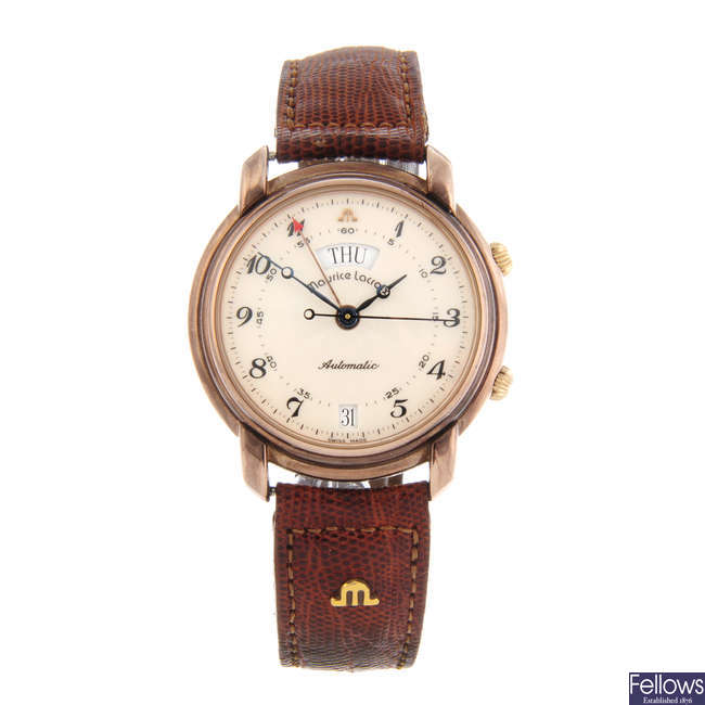 MAURICE LACROIX - a gentleman's gold plated Masterpiece Reveil wrist watch.
