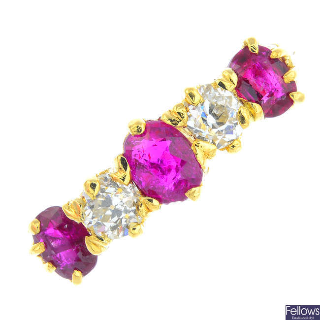 An 18ct gold ruby and diamond five-stone ring.