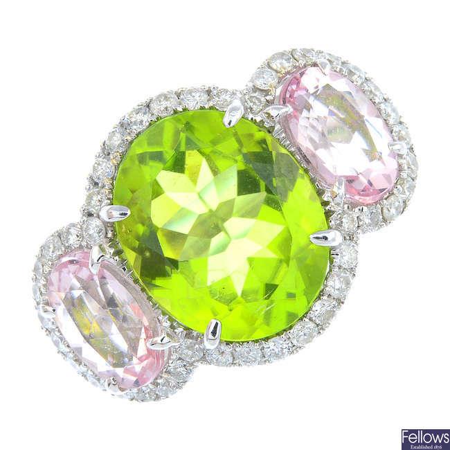 A diamond, peridot and morganite dress ring.