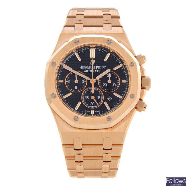 AUDEMARS PIGUET - a gentleman's 18ct rose gold Royal Oak chronograph bracelet watch.
