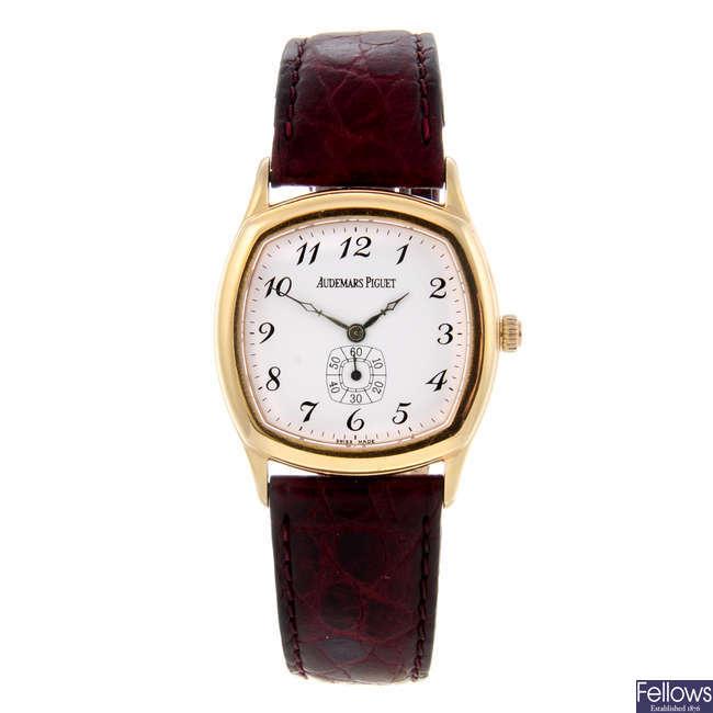 AUDEMARS PIGUET - a gentleman's 18ct yellow gold John Schaeffer wrist watch.