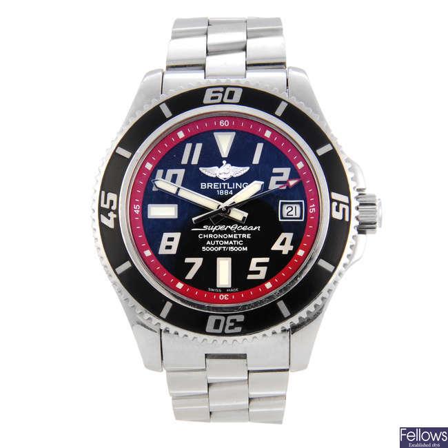 BREITLING - a gentleman's stainless steel SuperOcean 42 bracelet watch.