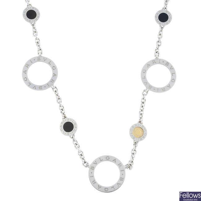 BULGARI - an 18ct gold 'Bulgari' onyx necklace.