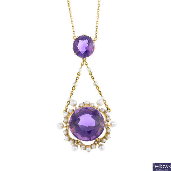 An early 20th century 15ct gold amethyst and seed pearl necklace.