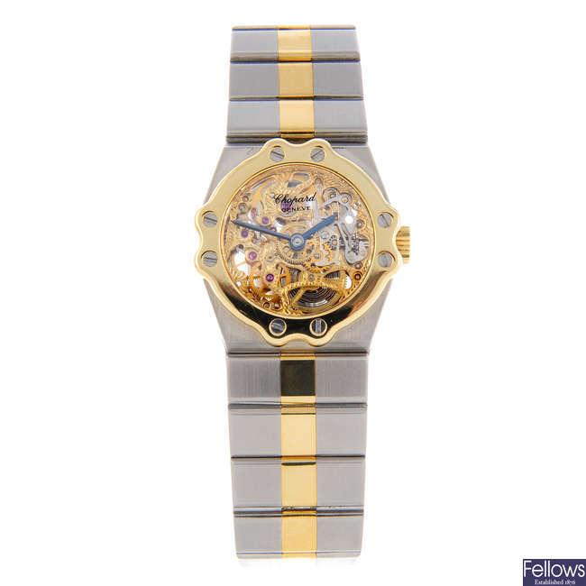 CHOPARD - a lady's bi-metal St.Moritz bracelet watch.