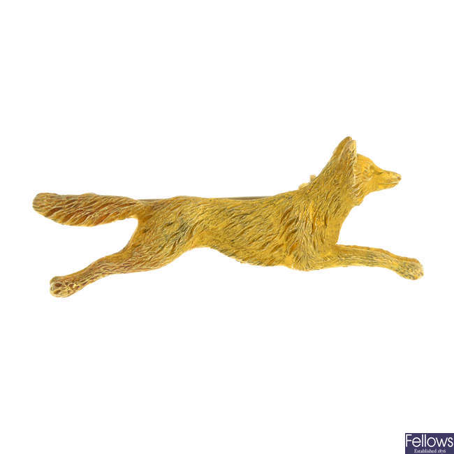 An early 20th century gold fox brooch.