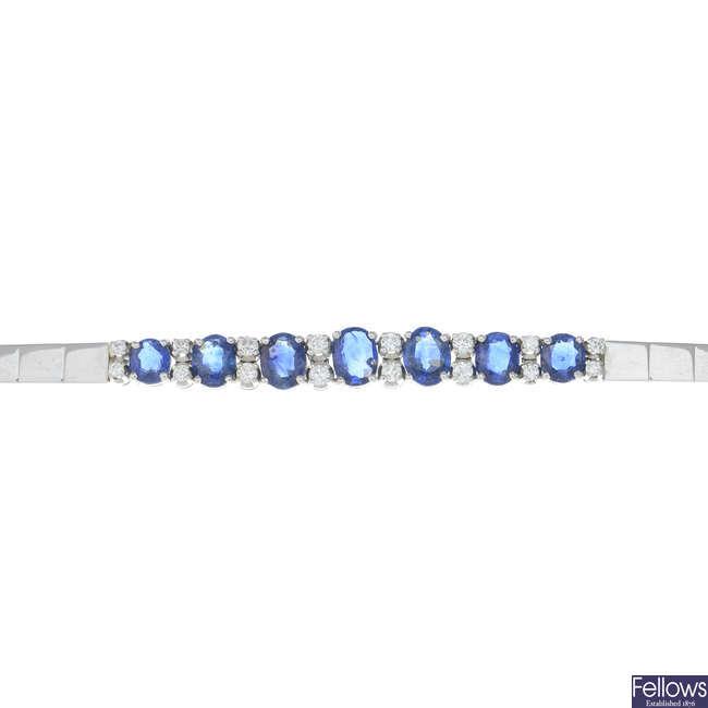A 1970s 18ct gold sapphire and diamond bracelet.