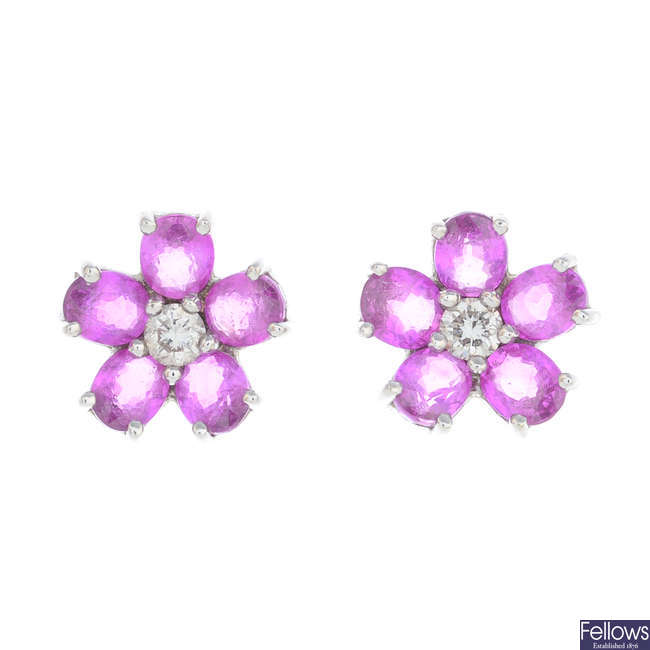 A pair of 18ct gold, pink sapphire and diamond cluster earrings.