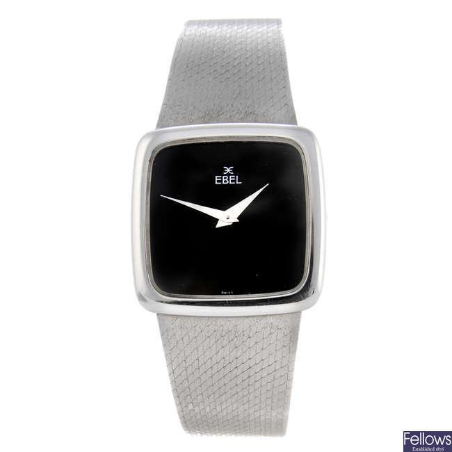 EBEL - a gentleman's 18ct white gold bracelet watch from the estate of Stuart Devlin.