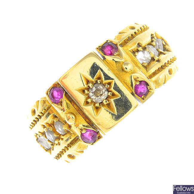 A late Victorian 15ct gold diamond and ruby dress ring.