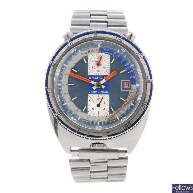 BREITLING - a gentleman's stainless steel Bullhead Pupitre Chrono-Matic chronograph bracelet watch.