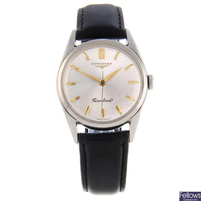 LONGINES - a gentleman's stainless steel Silver Arrow wrist watch.