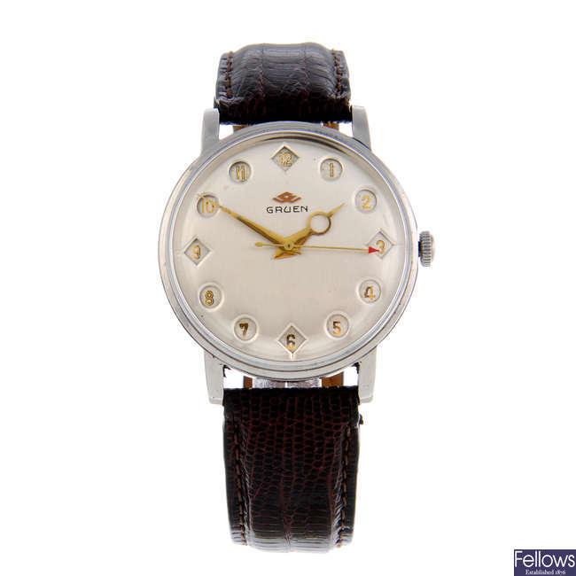 GRUEN - a gentleman's stainless steel Airflight Jump Hour wrist watch.