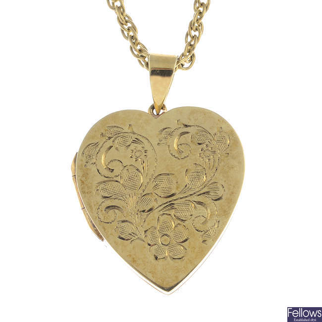 A 9ct gold locket, with 9ct gold chain.